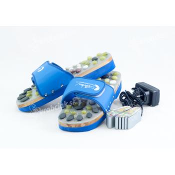 Vyhrievané masážne papuče s prírodnými kameňmi, modré, CatMotion