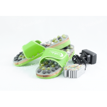 Vyhrievané masážne papuče s prírodnými kameňmi, zelené, CatMotion