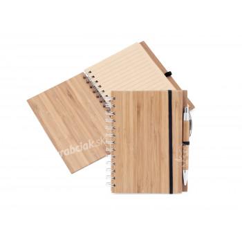 Bambusový zápisník s bambusovou perom a recyklovaným papierom, Catmotion