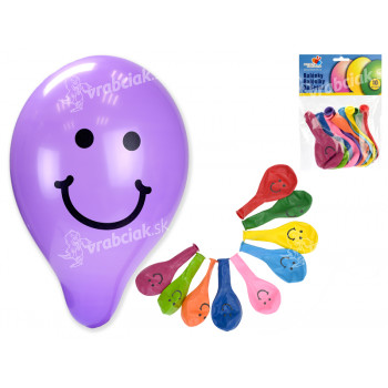 """Balónik / Balóniky nafukovacie 9 """"potlač Smile 10cm karneval"""