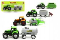 Traktor s přívěsem plast 16cm - mix variant či barev