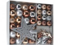 ozdoba vianočné (guľa, špička, dekorácie) sada 45díl. Str alebo ZLA, MEĎ