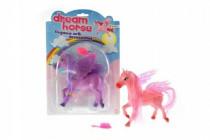 Kůň s křídly a s hřebenem plast 14cm - mix barev