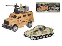 Auto vojenské 25 cm na zotrvačník + tank 22 cm na zotrvačník