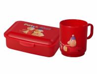 Set PAM box na desiatu strednej + hrnček plastový 2,5dl, červený
