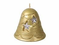 Sviečka ZVONČEK s hviezdou vianočnej metalická d8,5x5cm