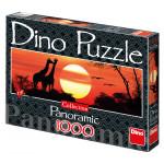 Žirafy při západu slunce 1000D panor.