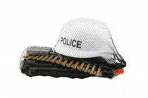Sada polícia helma + samopal na zotrvačník s doplnkami plast