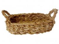 košík oválny s úchytmi malý 24x17x7cm morská tráva