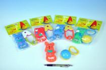 Zvieratko gumové + hrkálka plast 11cm - mix variantov či farieb