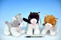 Kočka plyš 13cm s mašlí na baterie se zvukem - mix variant či barev