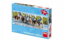 Puzzle bežiaci kone panoramic 66x23cm 150 dielikov
