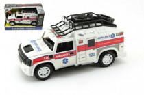 Auto ambulancie plast 25cm na zotrvačník na batérie so zvukom so svetlom