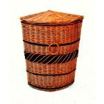 koš prádelní rohový 70cm lakovaný s textilní podšívkou