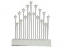 svietnik vianočné el.17 sviečok LED, hviezda, driev. BI, 27,7x26x4cm, do