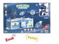 Policajná stanica s autom a lietadlom na batérie so svetlom a zvukom s doplnkami