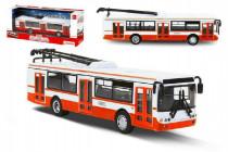 Trolejbus český kovový červený 16cm na spätný chod CZ dizajn