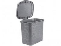 kôš odpadkový MONAKO 9l 26x23x29cm s vekom plastový, ŠE metalíza