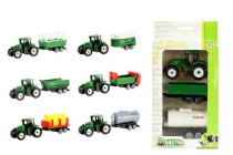 Traktor mini 7cm s přívěsem 2ks plast - mix variant či barev