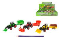 Traktor s vlečkou 20 cm kov zpětný chod - mix variant či barev