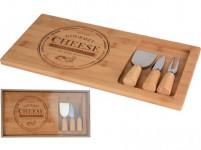 doštička na syr sada 4díly. (doštička 38x18,5x1,5cm, 2x nôž, 1x vidlička) bambus