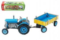 Traktor Zetor s valníkem modrý na klíček kov 28cm Kovap