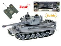R/C tank 26 cm 1:28 40 MHz šedý na baterie plná funkce 10 kanálů se světlem a zvukem