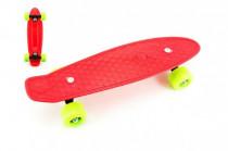 Skateboard - pennyboard 43cm, nosnosť 60kg plastové osi, červený, zelená kolesá