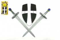 Rytířská sada 2 meče a štít plast 49cm
