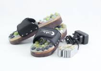 Vyhrievané masážne papuče s prírodnými kameňmi, čierne, CatMotion