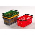 košík nákupní, 2 držadla 44x28x20cm plastový, ŽL, nosnost 10kg