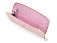 Dámska peňaženka na zips s prešívanou mriežkou a zlatou korunkou, eko koža, svetlo ružová