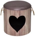 Domček cat D & d Heart hnedý 35x34cm