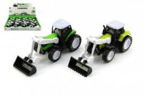 Traktor s radlicí kov/plast 10cm na zpětné natažení - mix barev