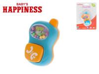 Hrkálka telefonek 9 cm s guličkami Baby's Happiness - mix farieb