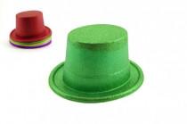 Klobouk/cylindr se třpytkami plast 14cm karneval - mix barev