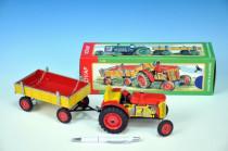 Traktor Zetor s valníkem červený na klíček kov 28cm Kovap