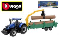 Bburago New Holland T3.315 traktor12 cm na zotrvačník s drevom