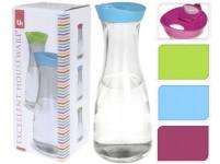 karafa 0,9l sklenená s plastovým vekom - mix farieb