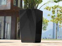 Samozavlažovací kvetináč GreenSun ICES 12x12 cm, výška 23 cm, čierny