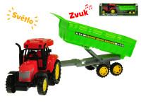 Traktor s vlečkou 35 cm na zotrvačník na batérie so svetlom a zvukom - mix variantov či farieb