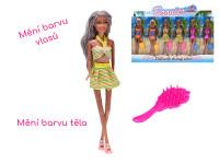 Bábika kĺbová 29 cm plážová meniace farbu tela a vlasov s doplnkami