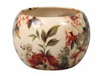Obal na květník MANES ROSA keramický béžový lesklý d16x16cm