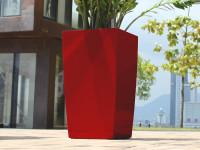 Samozavlažovací kvetináč GreenSun ICES 22x22 cm, výška 43 cm, červený