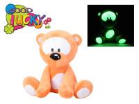 Medvídek plyš 30cm svítící ve tmě oranžový