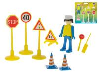 Sada dopravného značenia 6 ks s panáčikom a doplnky - mix farieb