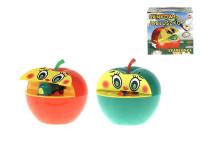 Pokladnička červené jablko s červíkom na kľúčik plast 16x10cm
