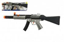 Pistole samopal policie plast 59cm na baterie se zvukem se světlem