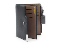Moderná pánska peňaženka s vreckom na drobné, eko koža, čierna