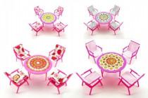 Nábytok pre bábiky stôl + 4 stoličky plast 17cm